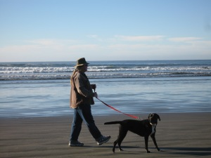 Dog walker, Crescent City, CA. (Kathleen Kenna photo)